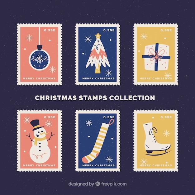 Set of beautiful christmas stamps
