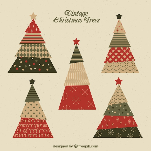set of beautiful christmas trees with different shapes free vector - Different Christmas Trees