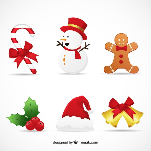 Set of beautiful decorative christmas elements Free Vector