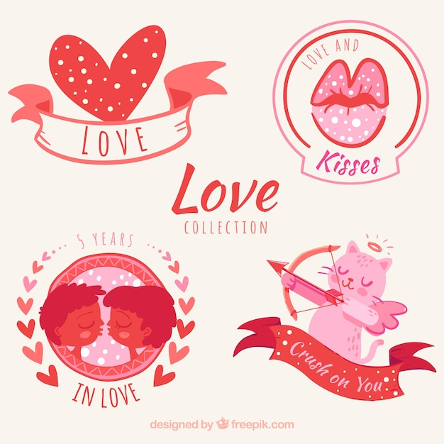 Set Of Beautiful Love Stickers Free Vector