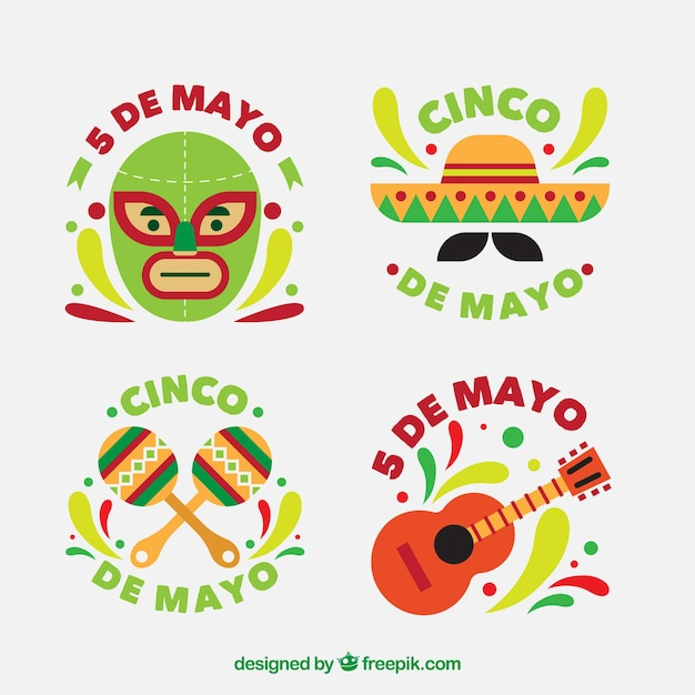 Set of beautiful stickers of cinco de mayo Free Vector