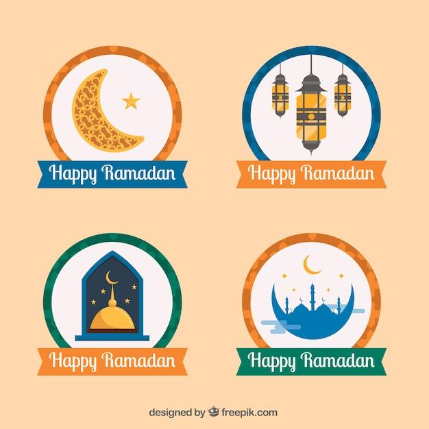 Set Of Beautiful Stickers Happy Ramadan Free Vector