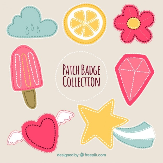 Set Of Beautiful Stickers Free Vector