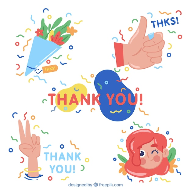 Set Of Beautiful Thank You Stickers Free Vector