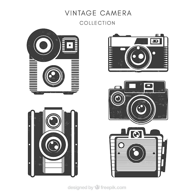 Set of beautiful vintage cameras