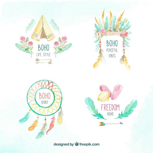 Set Of Beautiful Watercolor Boho Stickers Free Vector