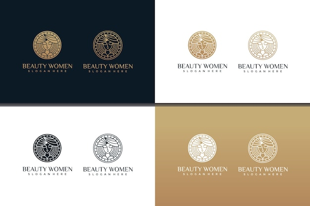 ラインアートスタイルと名刺デザインの美しい女性のロゴデザインテンプレートのセット Premiumベクター
