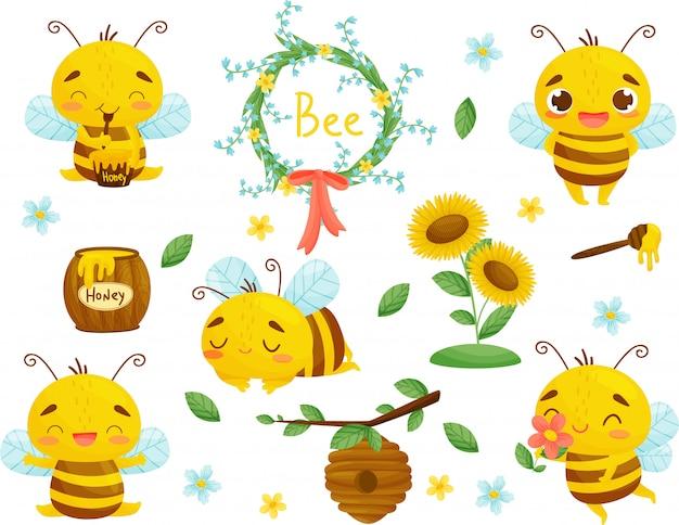 蜂、蜂蜜、その他の養蜂のイラストのセットです。 。漫画。 Premiumベクター