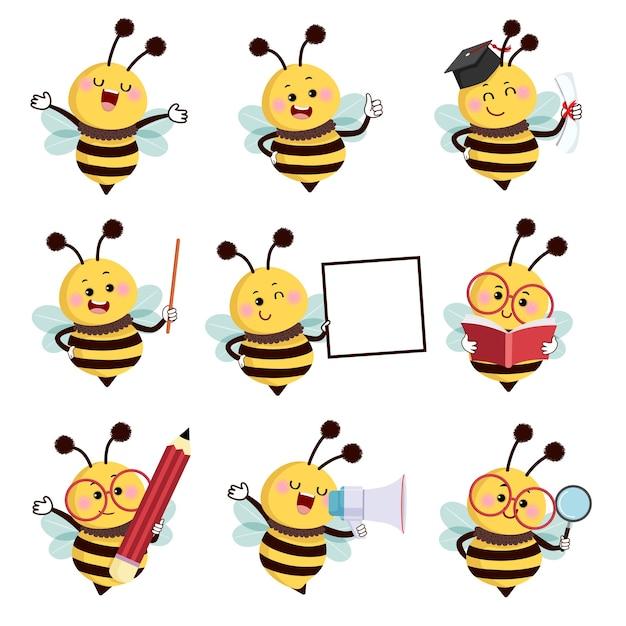 さまざまなポーズの蜂のマスコットキャラクターのセット Premiumベクター
