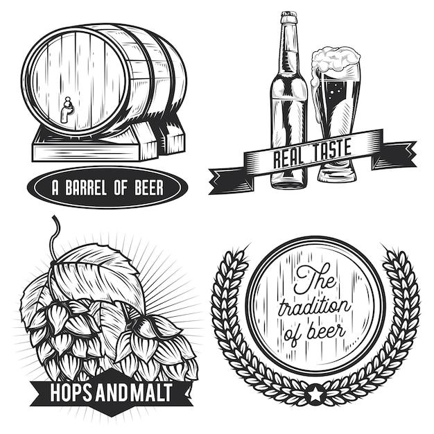 ビールのエンブレム、ラベル、バッジ、ロゴのセット。 Premiumベクター