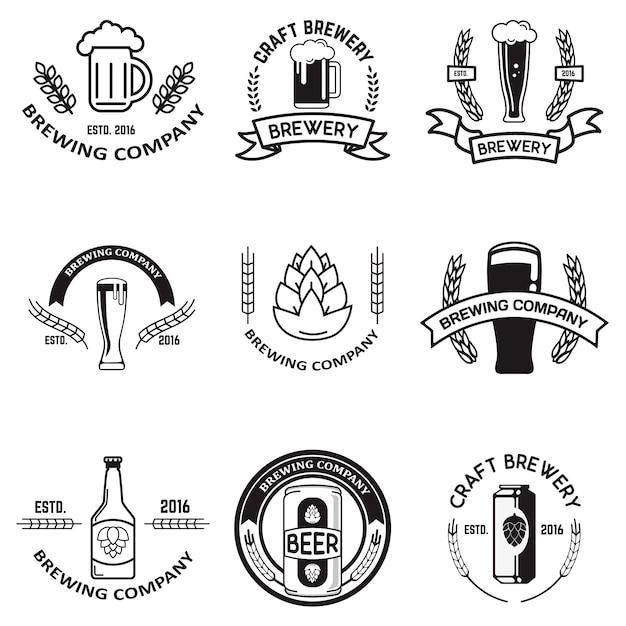 Набор пивных этикеток в стиле линии. элементы дизайна для логотипа, этикетки, эмблемы, знака, торговой марки. Premium векторы