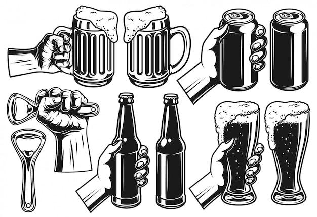 ビールオブジェクトのセット 無料ベクター