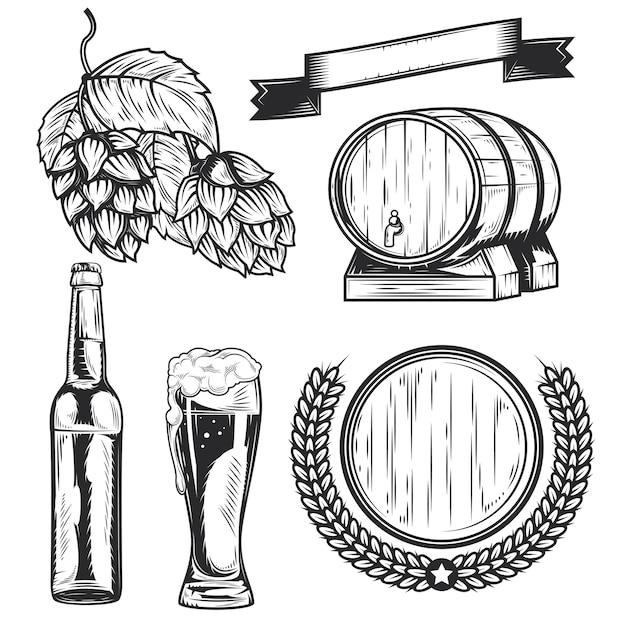 独自のバッジ、ロゴ、ラベル、ポスターなどを作成するためのビールの要素のセット。 Premiumベクター