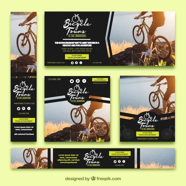 Set of bicycle banners