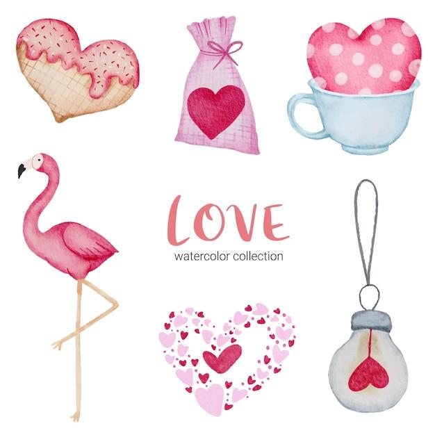 装飾、イラストのための大きな孤立した水彩バレンタインコンセプト要素素敵なロマンチックな赤ピンクの心のセットです。 無料ベクター