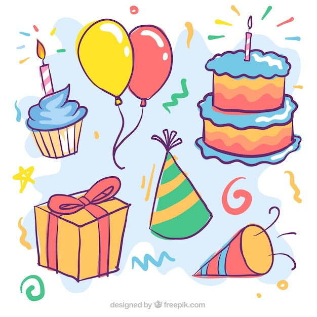 Set of birthday cake and other hand drawn items Vector Free Download