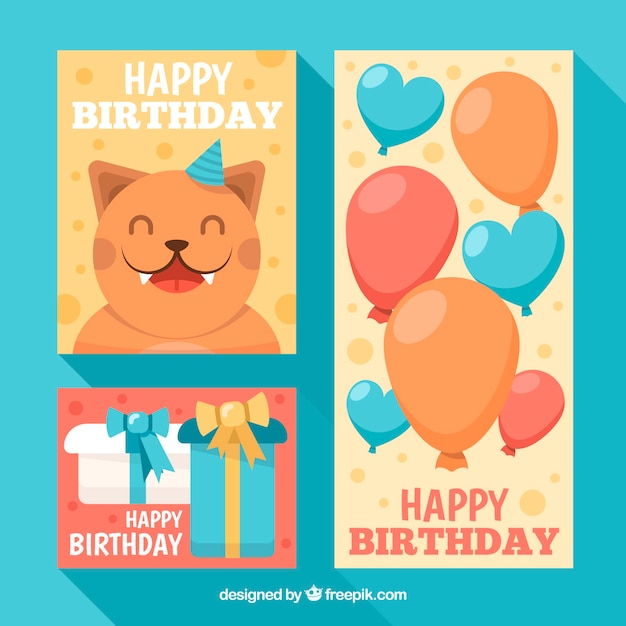 Set Of Birthday Cards In Flat Design With A Cat Free Vector