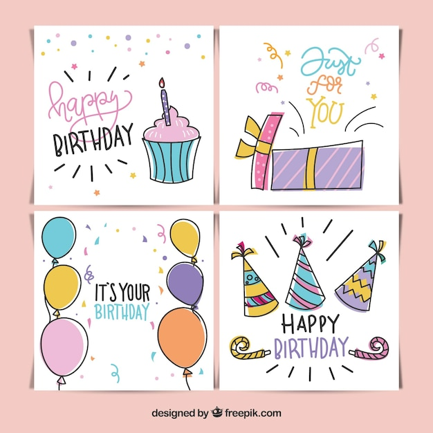 Set Of Birthday Cards In Hand Drawn Style Vector Free Download