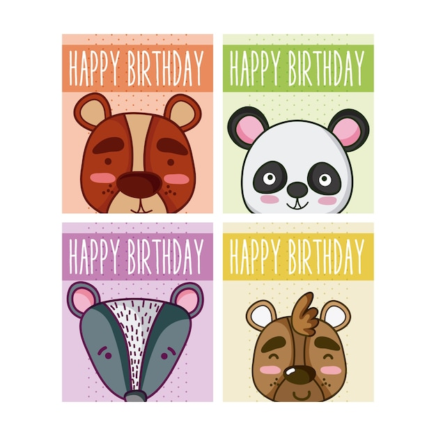 Set Of Birthday Cards With Animals Cartoons Vector Premium Download