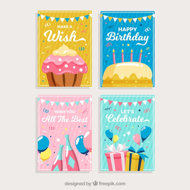 Set Of Birthday Cards With Colorful Party Elements Vector Free