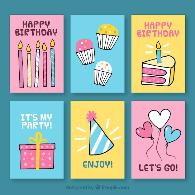 Set Of Birthday Cards With Drawings Vector Free Download