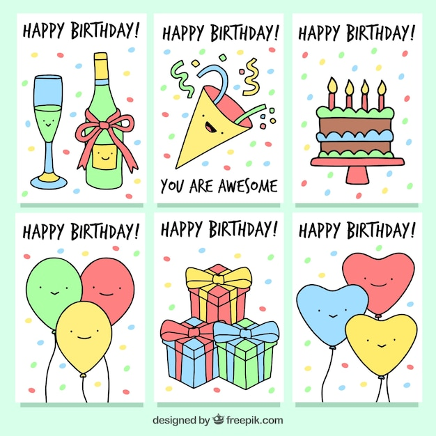 Set Of Birthday Cards With Party Drawings Vector Free Download