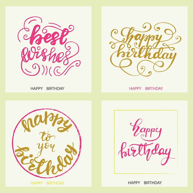 Set Of Birthday Greeting Card Designs With Lettering Vector