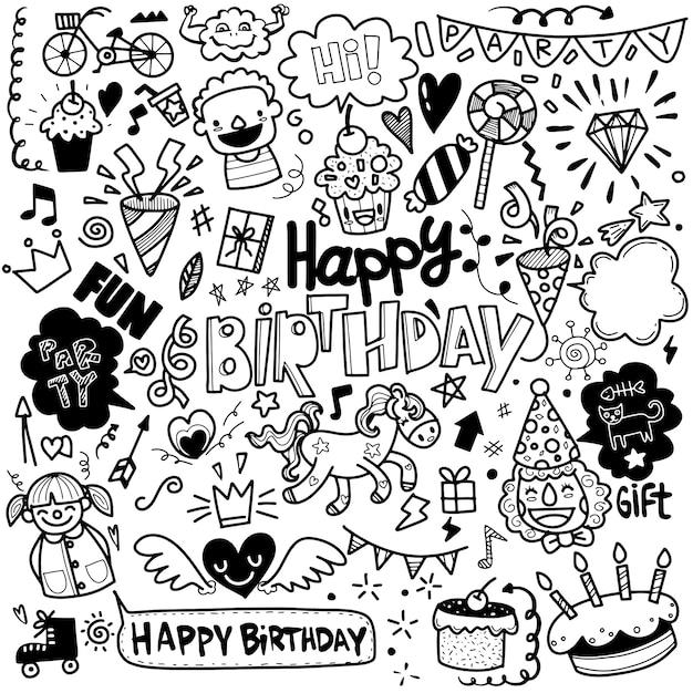 Набор день рождения партии рисованной каракули эскиз линии Premium векторы
