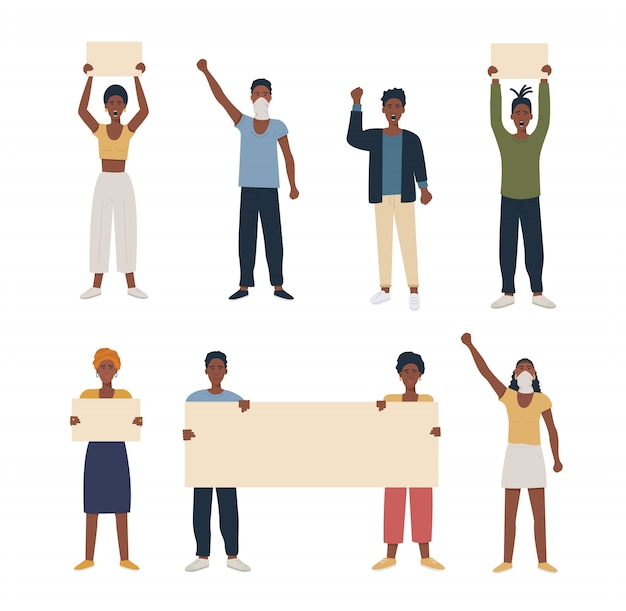 Комплект чернокожих людей афроамериканца протестуя, проявляя держащ плакат и поднял кулак руки. Premium векторы