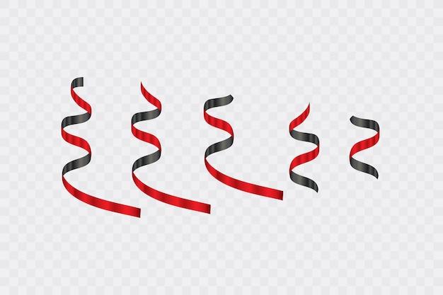 透明な背景に黒と赤の湾曲した紙リボン蛇紋岩紙吹雪のセットです。リボン。ブラックフライデースーパーセール。図。 Premiumベクター
