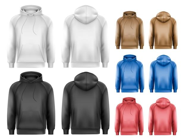 Набор черно-белых и красочных мужских толстовок с пространством для образца текста. Premium векторы