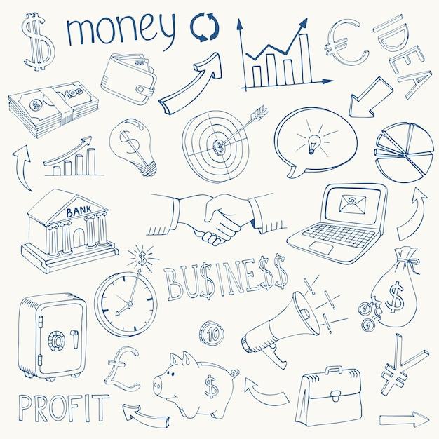 Набор черно-белых деловых и денежных инфографических значков эскиза каракули, изображающих инвестиции Бесплатные векторы