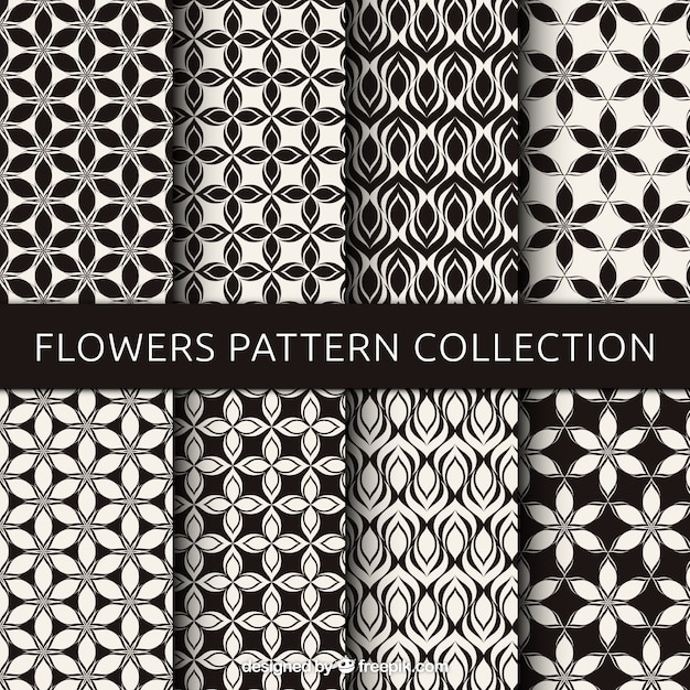 Set of black and white flower patterns