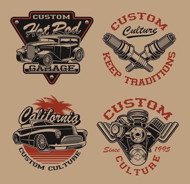 暗い背景に交通テーマの黒と白のロゴまたはビンテージスタイルのシャツのセットです。ポスター、アパレル、tシャツのデザインなど、さまざまな用途に最適です。レイヤード Premiumベクター
