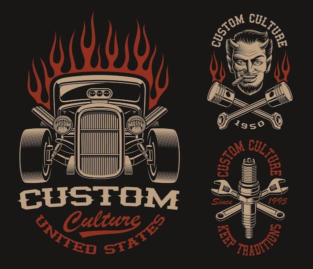 暗い背景に輸送テーマの黒と白のロゴまたはビンテージスタイルのシャツのセット Premiumベクター