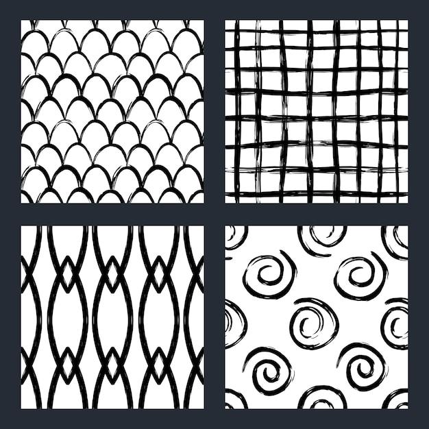 マーカー北欧スタイルの黒と白のシームレスパターンのセット Premiumベクター