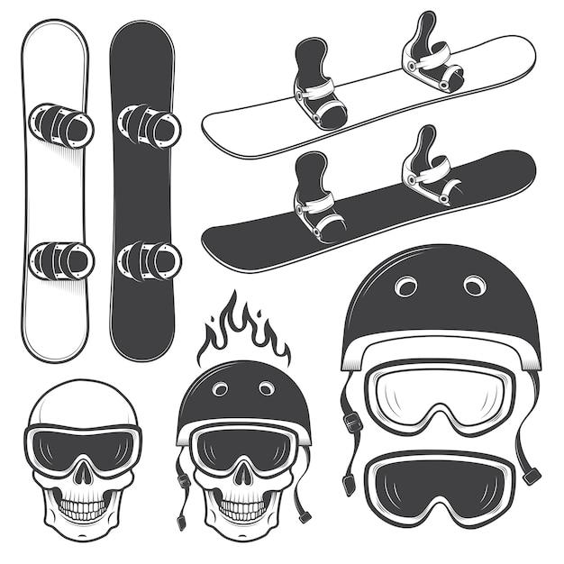 Набор черно-белых сноубордов и разработанных элементов для катания на сноуборде. экстремальная тема, зимний спорт, приключения на природе. Бесплатные векторы