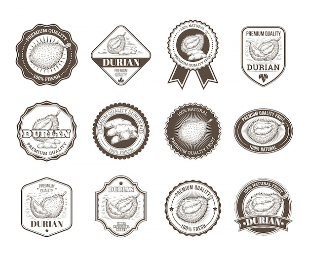 Set of black and white vector badges stickers high quality signs with durian
