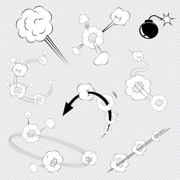 Набор черно-белых векторных мультяшных взрывов комиксов с клубами дыма Бесплатные векторы