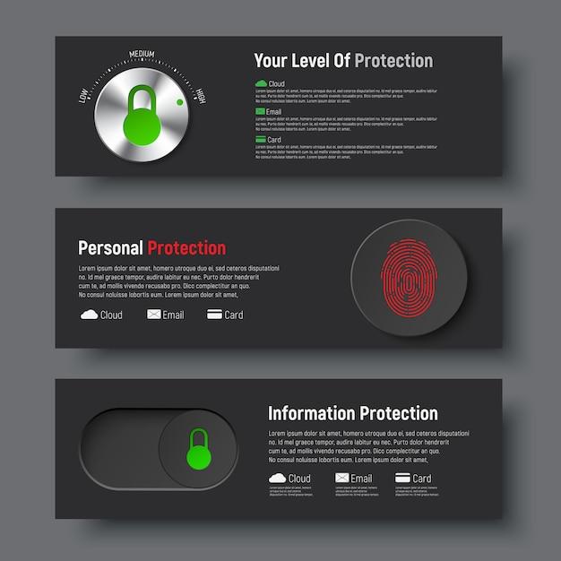 Набор черных баннеров для защиты информации Premium векторы