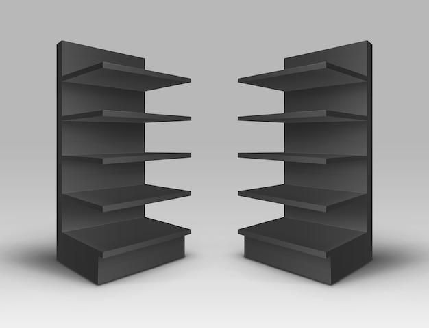 Набор черных пустых пустых выставочных торговых стендов, витрины с полками, изолированные на фоне Premium векторы