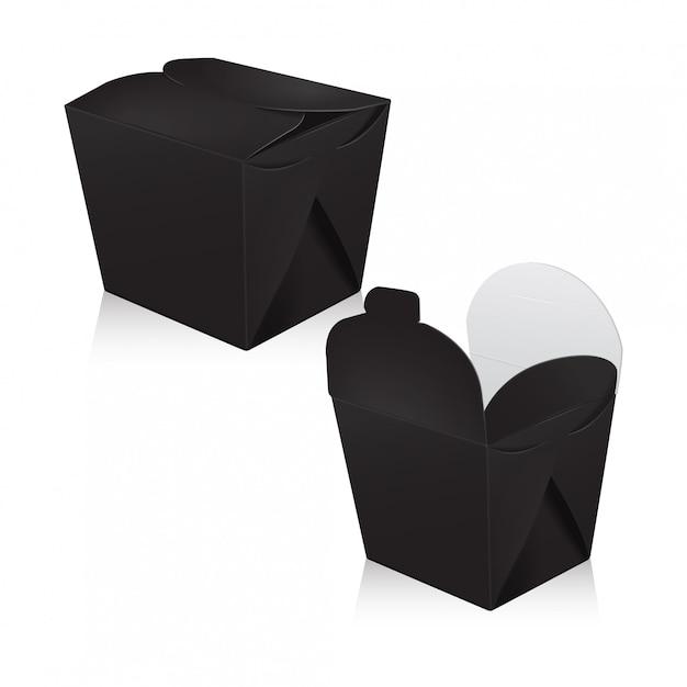 黒空中華鍋のセットです。包装。アジアまたは中国のカートンボックスは、食品紙袋を奪います Premiumベクター
