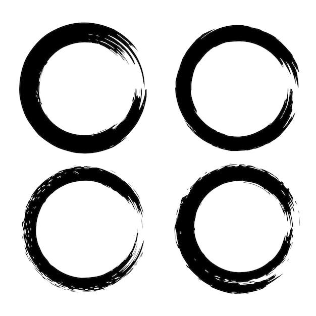 Набор черных мазков в виде круга. элемент для плаката, карты, знака, баннера. иллюстрация Premium векторы