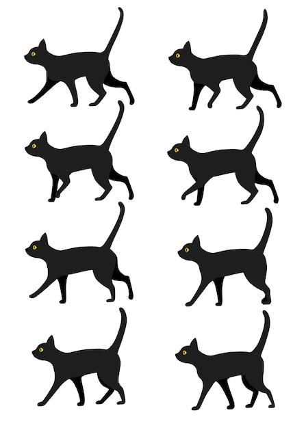 검은 고양이 아이콘 컬렉션의 집합입니다. 산책 애니메이션 사전 설정에 대한 검은 고양이 포즈. 흰색 배경에 그림 프리미엄 벡터