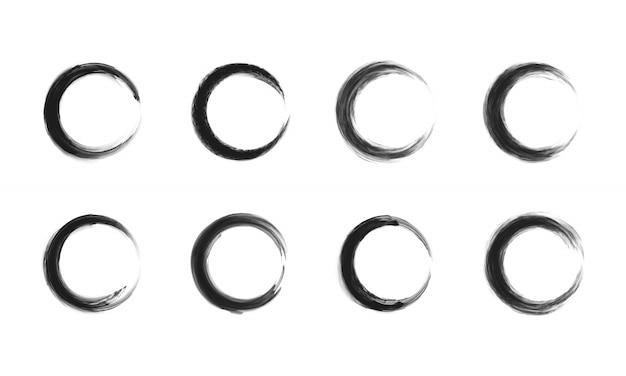 Набор черного круга кадра. Premium векторы