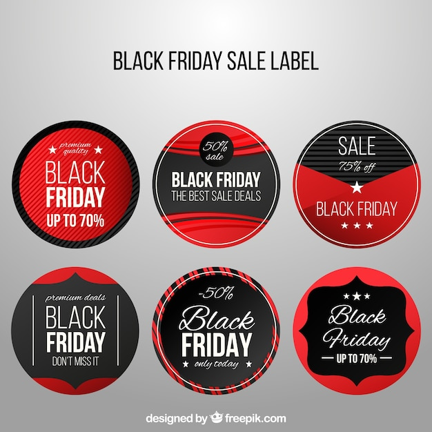 Set of black friday round stickers