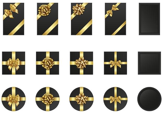 金の弓とリボンが付いている黒いギフトボックスのセット。ブラックフライデーの要素 Premiumベクター