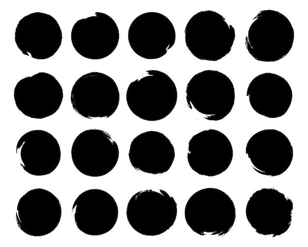 Набор черной краской, мазки кистью, кисти, линии, шероховатый. брызги чернил. круглые элементы гранж. грязные баннеры текстуры. каллиграфия прямые мазки, штамп, линии. иллюстрация. Premium векторы