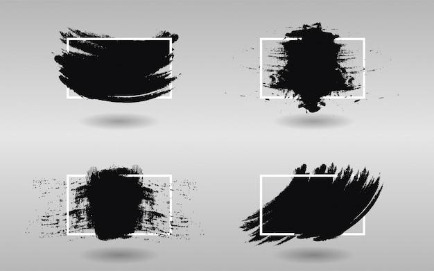 Набор черной краски с квадратной рамкой Premium векторы