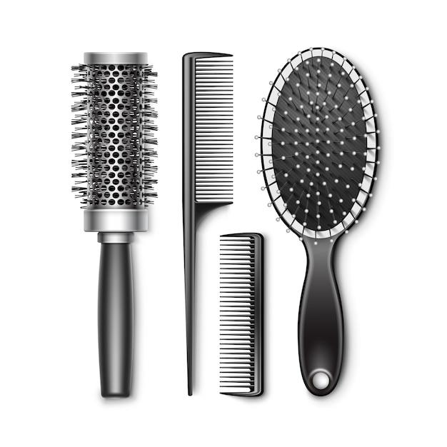 Набор черный пластиковый уход и горячая завивка радиальный карман щетка для волос расческа профессиональные парикмахерские инструменты вид сверху изолированные Premium векторы